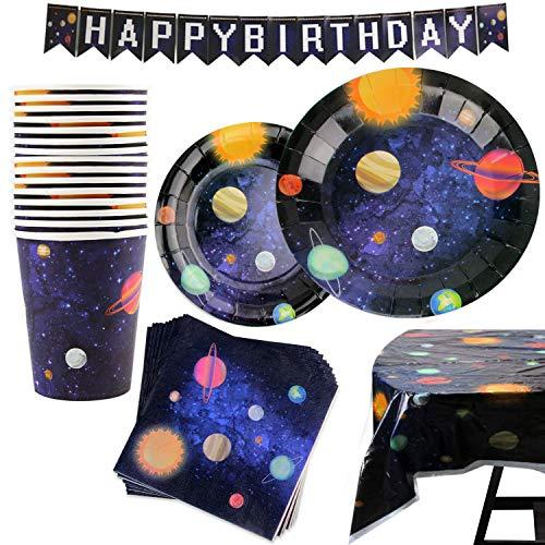 Kompanion 102 Artículos con Diseño del Espacio y Galaxia-Desechables para Fiesta y Celebración de Cumpleaños Espacial – Vasos, Platos, Servilletas –Accesorios de Vajilla y Decoración–25 Personas