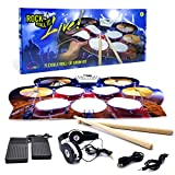 MUKIKIM Rock and Roll It – Drum Live. Roll Up Portable Drum Set for Kids & Adults. Practice Pad Kit for Beginners. Electronic Silicone Drum Practice Pad   Headphones   Pedals   Drum Sticks
