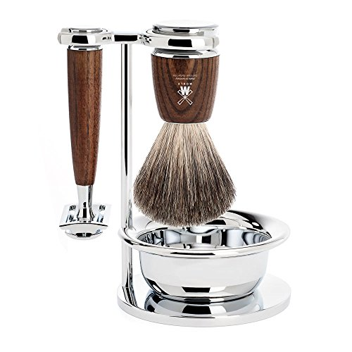 MÜHLE RYTMO Steamed Ash 4-piece Pure Badger Safety Razor Shaving Set
