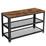 VASAGLE Bryce Shoe Bench, 3-Tier Shoe Rack, Storage Shelves with Seat, for Entryway, Living Room, Hallway, Accent Furniture, Steel Frame, Industrial Design, Rustic Brown and Black ULBS73X