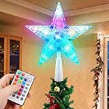 Christmas Tree Topper Star 7' LED Lighted Star Tree Top w/ Remote Control, 5-Point Star RGB Night Light Treetop, Small Xmas Tree Decor for Christmas, USB Plug in/Wire 9.84Ft
