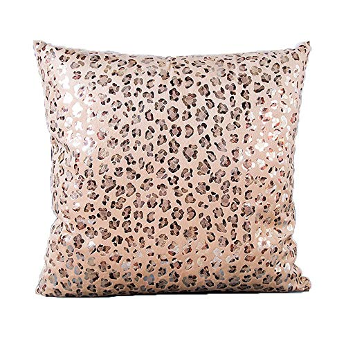 WUQIAN Animal Short Plush Leopard Print Leopard Point Stamping Pillow Cojín Funda De Cojín Beige