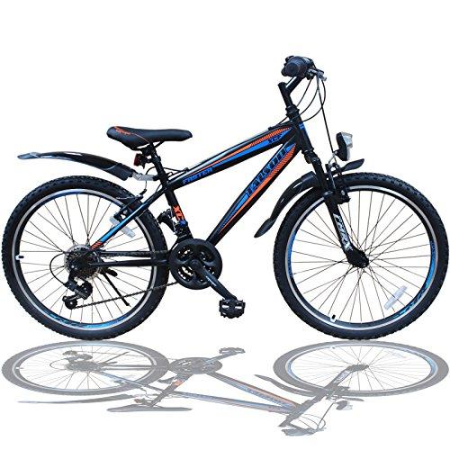 Talson 24 Zoll Mountainbike Fahrrad MIT GABELFEDERUNG & Beleuchtung 21-Gang Shimano Faster BBO