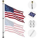 Yeshom 20ft Telescopic Aluminum Flag Pole Free 3'x5' US Flag & Ball Top Kit 16 Gauge Telescoping Flagpole Fly 2 Flags
