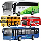 GEYIIE Bus Toys Set Of 4, Kids Die-Cast Metal Toy Cars, Pull Back Car City Bus Double Decker London Vehicles, Friction Powered Cars, Play Set Toys Gift For Boys, Girls, Toddlers 3-8 Years Old