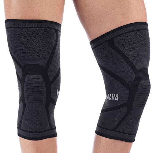 Mava Sports Knee Compression Sleeve Support for Men and Women - Perfect for Powerlifting, Weightlifting, Running, Gym Workout, Squats and Pain Relief - (Black, Small)
