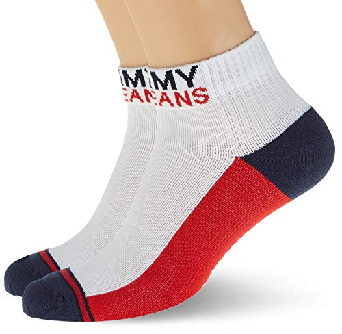 Tommy Hilfiger Tommy Jeans Quarter Socks (2 Pack) calze, Bianco, 39/42 (Pacco da 2) Unisex-Adulto