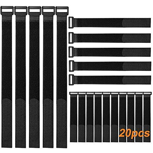 FULARR 20Pcs Nylon Fascette Kit, Riutilizzabile Fascette Fermacavi & Cavi Fascette, Hook e Loop Cavi Cinghia, Cavi Organizzatore Fastener, 3 Diverse Dimensioni Nero