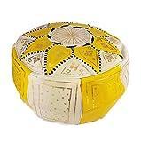 Le Bled à Julie Pouf Oriental Marocain Jaune et Blanc