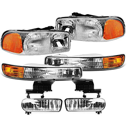 Epic Lighting OE Fitment Replacement Headlight Signal Light Fog Light Combo Set Compatible with 99-07 Sierra Pickup & 00-06 Yukon/XL [ 6-Piece ] Driver and Passenger Sides