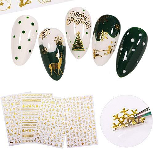 MiaoWu 4 Sheets Christmas Nail Art Stickers 3D Gold Nail Decals Self-Adhesive Winter Xmas Tree Snowflake Bell Snowman Elk Nail Art Decorations for Christmas