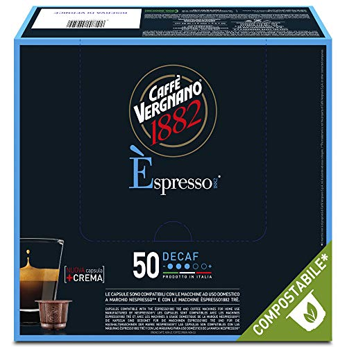 Caffè Vergnano 1882 Èspresso Capsule Caffè Compatibili Nespresso Compostabili, Decaffeinato - Pack da 50 capsule