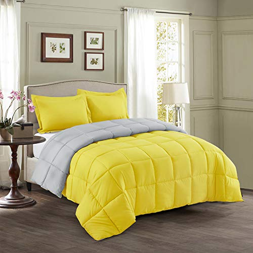 HIG 3-Piece Yellow Reversible Down Alternative Comforter Set Queen- Baffle Box Stitch - 4 Built-in Corner - Lightweight & Easy Fit - Premium Poly Filling - Moisture-Wicking - Fluffy, Warm, Soft