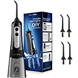 Water Flosser for Teeth - Cordless Portable 300ML Water Flosser Teeth Cleaner with DIY Mode, Rechargeable IPX7 Waterproof Dental Water Pick Oral Irrigator for Braces, 4 Modes, 4 Jets for Home & Travel