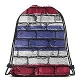 Hdadwy Tailandia Bandera Bandera Ladrillos Pared Unisex Bolsa con cordón Gimnasio Mochila de Baile