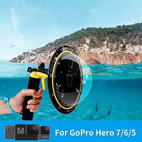 TELESIN Gopro Dome Port, Custodia impermeabile 6 pollici con galleggiante Impugnatura compatibile con GoPro Hero 6/Hero 5, Hero 2018, GoPro Hero7 Black
