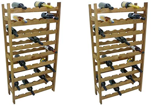 2 Pezzi Porta Bottiglie cantinetta in Legno Marrone 54 posti per Vino Cantina enoteca Bar casa Cucina ripostiglio