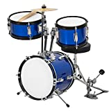Best Choice Products 3-Piece Kids Beginner Drum Musical Instrument Set w/ Sticks, Cushioned Stool, Drum Pedal - Blue