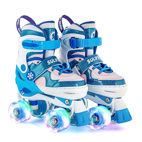 SULIFEEL Rainbow Unicorn 4 Size Adjustable Light up Roller Skates for Girls Boys for Kids (Frozen Blue, Small(10C-13C US))