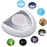 Onlyee White Noise Machine - Sleep Sound Machine with 8 Natural Soothing Sounds for Sleeping, Battery or AC Powered, Auto-Off Timer, USB Port, Headphone Jackfor Home, Office, Baby, Adults & Travel