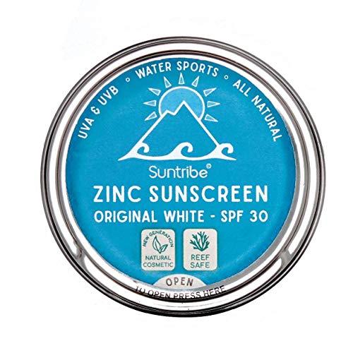 Crème Solaire Biologique Suntribe - 100% Zinc - Visage & Sports - FPS 30 - Sans Danger pour les Coraux - 3 ingrédients - Ultra résistant à l'eau - ORIGINAL BLANC (30 g)