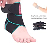 Ankle Support,Adjustable Ankle Brace Breathable Nylon Material Super Elastic and Comfortable,1 Size Fits all, Protects Against Chronic Ankle Strain, Sprains Fatigue,blue