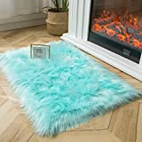 Ashler Soft Faux Sheepskin Fur Chair Couch Cover Area Rug for Bedroom Floor Sofa Living Room Turquoise Rectangle 2 x 3 Feet