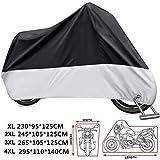 KOKOMALL Funda para Moto 210D Protectora Cubierta de Motocicleta Impermeable Exterior a Prueba de Polvo Anti UV con Agujeros de Bloqueo 4XL 295 x 110 x 140 cm