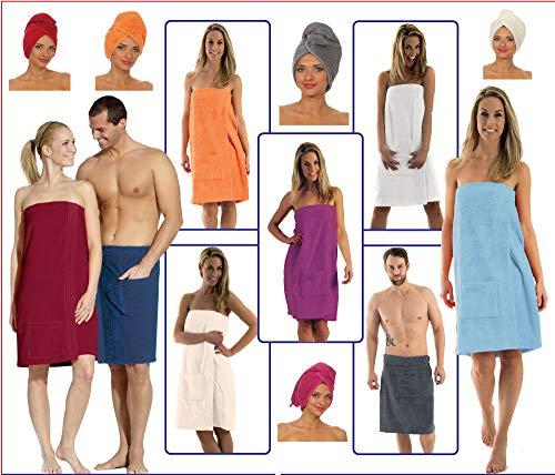 NATURA WALK Damen und Herren Saunakilt, Bio-Baumwolle,NEUHEIT: Schlingenfeste Qualität, kein Fädenziehen mehr (Marine, Herren S - L)