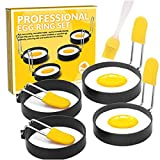 Egg Rings, Egg Ring for Frying Eggs, Stainless Steel Egg Cooking Rings with Anti-scald Handle, Non Stick Coating, Egg Maker Molds for Pancake, Sandwich, English Muffins (4 Pack+Oil Brush)