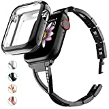 MARGE PLUS Compatible with Apple Watch Band 38mm 40mm 42mm 44mm with Case, Women Bling Wristband for iWatch Series 5 4 3 2 1 Metal Stylish Strap