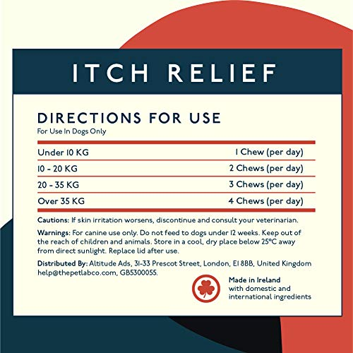 Petlab Co. Itch Relief Chews for Dogs | Anti Itch Dog Chews for Soothing Itchy Dog Skin | Turmeric Curcumin, Fatty Acids, and Hone 4