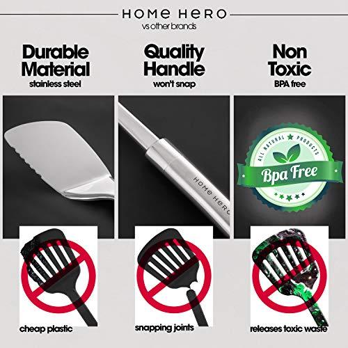 Product Image 4: HOME HERO Stainless Steel Kitchen Utensil Set - 29 Cooking Utensils - Nonstick Kitchen Utensils Cookware Set with Spatula - Best Kitchen Gadgets Kitchen Tool Set Gift