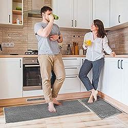 Delxo Kitchen Rug Sets,2 Piece Non-Slip Soft Super Absorbent Kitchen Mat