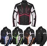 Motorcycle Jacket For Men Textile Motorbike Dualsport Enduro Motocross Racing Biker Riding CE Armored Waterproof All-Weather (Red, Medium)