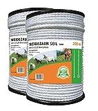 2 Rollen a 200 mtr. Elektroseil Seil 6 mm Weidezaun Elektrozaun Weidezaunseil