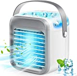 Portable Air Conditioner Fan, Rechargeable Evaporative Air Conditioner Fan with 3 Speeds 7 Colors, Cordless Personal Air Cooler with Handle for Home, Office and Room