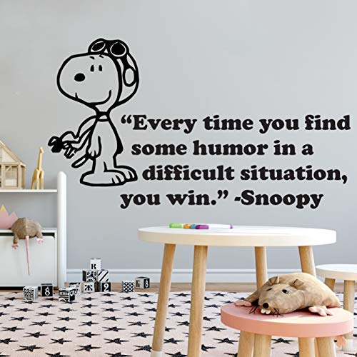 Snoopy Wall Decals Decal Winter Look Cuddly Peanuts Comics Charlie Brown Cartoon Character Vinyl Art Stickers for Toddler, Baby, Kids Rooms bedrooms Decor Decoration for Nursery Size 16x20 inch