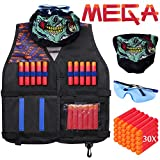 Hely Cancy Kids Tactical Vest Kit for Nerf Guns N-Strike Mega Series with Refill Darts, Reload Clips, Tactical Mask and Protective Glasses for Kids