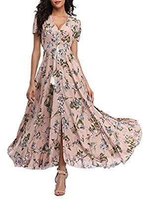 V-Neck, Short Sleeve, A Line Buttons Up Flowy Split, Floral Print Stretchy waist part, It's super comfortable and lightweight. Not the Amazon/US Size, Please see size picture in the left picture for reference before ordering. Flower printed maxi dres...