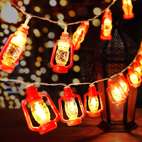 AceList 30 LED Red Lantern Mini Kerosene String Lights for Patio...