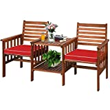 Tangkula Acacia Wood Loveseat, 3pcs Outdoor Table Chairs Set, Patio Conversation Set w/Coffee Table and Soft Cushions, 2.1-inch Umbrella Hole, 2-Seater Furniture Set (Red)