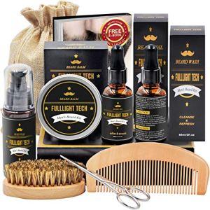 Beard Kit for Men Grooming & Care W/Beard Wash/Shampoo,2 Packs Beard Growth Oil,Beard Balm Leave-in...