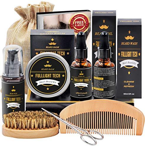 Kit Set Barba con Libero Shampoo Barba,Spazzola/Pettine/Forbici Barba,Balsamo/Olio Barba,Crescita Prodotti Barba Uomo Kit Cura