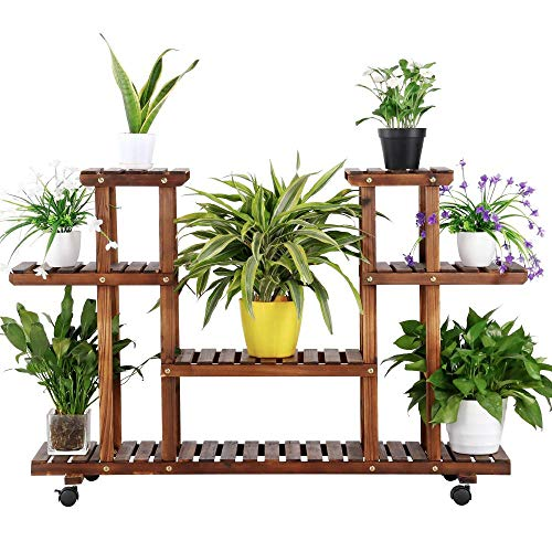 Yaheetech 4-Layer Wooden Rolling Flower Stand