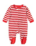 Leveret Kids Fleece Baby Boys Girls Footed Pajamas Sleeper Christmas Pjs (Red & White Stripes,Size 12-18 Months)