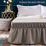 AYASW Bed Skirt 14 Inch Drop Dust Ruffle Three Fabric Sides Wrap Around (Queen or King Taupe) Brushed Microfiber Adjustable Elastic