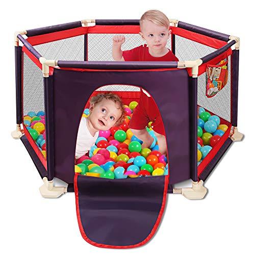 Kids 6-Panel Playard Playpen Portátil Lavable Aqua Play Center Valla con tapete y bolsa de viaje y malla transpirable para bebés Bebés recién nacidos