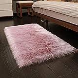 YOH Luxury Soft Fluffy Rugs Faux Fur Sheepskin Area Rugs Decorative Home Floor Carpet Living Room Princess Bedroom Bedside Kids Nursery Decor Furry Rug, 2ft x 3ft, Pink
