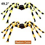 VeMee Halloween Spider Decoration Fake Realistic Hairy Scary Spider Giant 50inch Haunted House Prop Black Spider Plush Prank Toy Halloween Indoor Outdoor Decoration